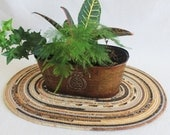 Fabric Coiled Mat / Placemat / Hot Pad / Coiled Rope Mat / Table centrepiece / Extra Large / brown black Oval by PrairieThreads