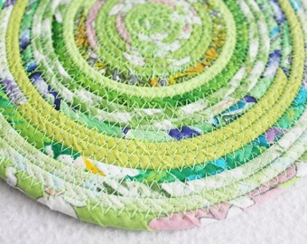 Fabric Coiled Mat / Mug Rug / Trivet / Hot Pad Eco Lime Green by PrairieThreads