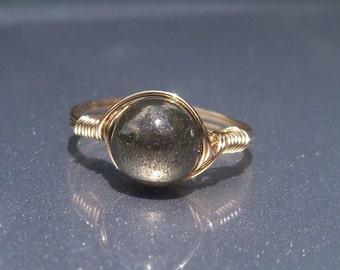LG Pyrite 14k Gold Filled Wire Wrapped Ring