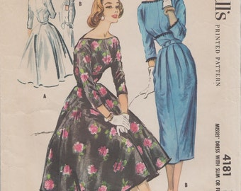 McCalls 4181 / Vintage 1950s Sewing Pattern / Dress / Size 12 Bust 32