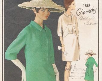 Vogue 1818 Paris Original / Vintage Designer Sewing Pattern By Givenchy / Dress / Size 14 Bust 34