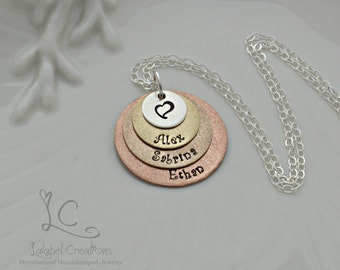 Four Layers Hand Stamped Necklace, Mixed Metals Discs Necklace, Mommy Necklace, Kids Names Necklace, Personalized Gifts