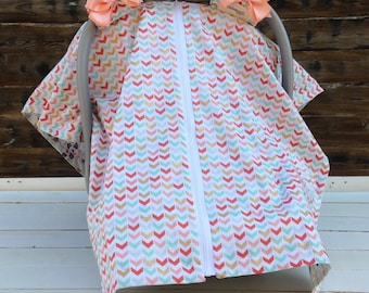 Carseat Cover / Carseat Canopy - Aztec Arrow Print in Coral, Mint, Black and White