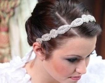 Bridal Tiara Hair Headband Beaded Ribbon Tiara Hair Band, Halo, Hair Accessories
