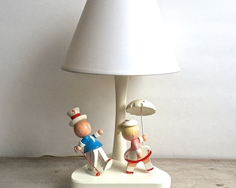 Nursery Classics Lamp,  Vintage Wood Lamp Girl Parasol Boy Top Hat Triangle Base