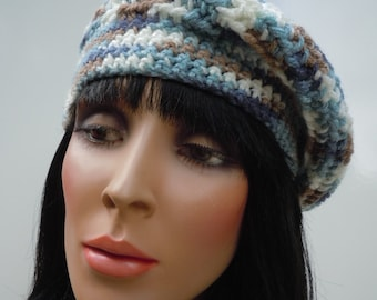 Beret, French Beret, Pastel Color Hat, Mixed Color Beanie, Crocheted Hat, Blue and Taupe Cap