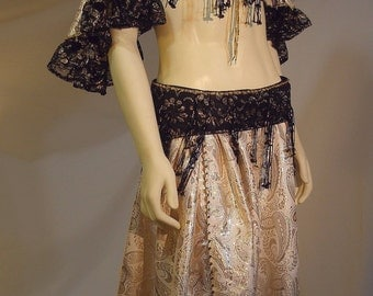 Belly Dance Costume, Black Lace Bellydance, Renaissance Gypsy, Ren Faire Costume, Belly Dance Bra, Belly Dance Skirt, Beaded Bellydancer Bra
