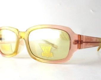 vintage 90's sunglasses square plastic frames peach pink yellow oversized thick skinny slim men women fashion accessories retro modern