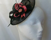 Black and Coral Watermelon Upback Saucer Sinamay Loop Curl Feather & Crystal Fascinator Hat- Made to Order - Royal Ascot -Derby