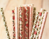 Blush Bouquet mix designs paper straws multipack