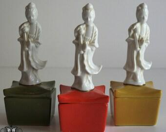 Vintage Ceramic Asian Trinket Box - Pagoda Shape with Blanc de Chine Geisha - Yellow Glaze