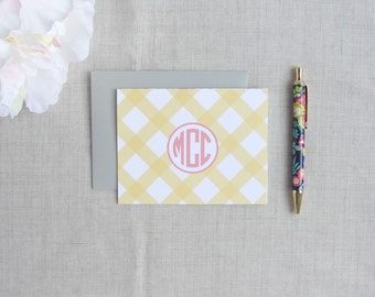 Buffalo Check Pattern | Monogramed Stationery | Set of 10 Personalized Folded Note Cards | Gift for Her | Thank You Notes