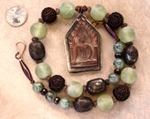Large Buddha Pendant Statement Necklace w Pale Green Amethysts Ethnic Copper and Iron Pyrite Ethnic Yoga Jewelry