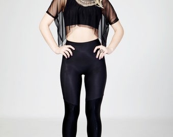 PUCKOO COUTURE KAI Stretch Lycra Leggings in Matte Black/Shiny Foiled Black
