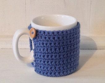 Crochet Mug Cosy With Built in Coaster in Denim