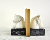 Horse Bookends, Vintage Marble Horse Head Book Ends, Equestrian Decor
