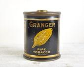 Vintage Tin Box, Tobacco Tin, Granger Rough Cut Advertising Tin Can, Industrial Storage