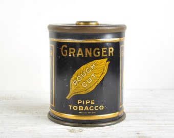Vintage Tin Box, Tobacco Tin, Granger Rough Cut Advertising Tin Can, Industrial Storage