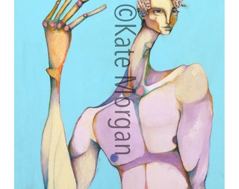 8x10 Colorful Pastel Colored Abstract Figural Man Fine Art Print
