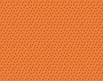Happy Haunting Spider Orange - Riley Blake C4676-Orange - 1 Yard Cut BTY - Halloween Fabric - Black Spiders on Orange Fabric - Tiny Spiders