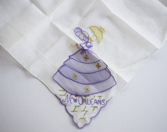 Vintage MADEIRA LADY HANDKERCHIEF New Orleans Linen Applique Embroidered Southern Belle Hankie Embroidery Hanky Umbrella Tag Nos Sunbonnet