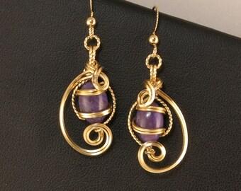 Purple Russian Charoite Gemstone Gold Earrings, Wire Sculpture Charoite Wire Art Drop Earrings