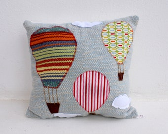 hot air balloons handwoven pillow