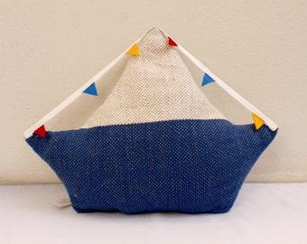 sailing boat pillow, softie, plush