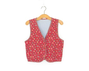 Vintage Red Vest * Floral Vest * Reversible Waistcoat * 80s Women's Vest * Small / Medium