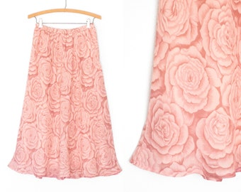 Vintage Floral Skirt * Romantic Rose Skirt * Pink Spring Tea Skirt * Medium - Large