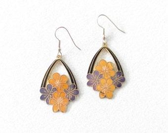 Vintage 80s Earrings * Flower Dangles * Floral Dangle Earring * Cloisonné