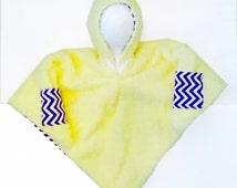 Car Seat Poncho 4 Kozy Kids(TM) with pockets, reversible, option to add detachable hood & inside batting, safe, warm-purple chevron w/yellow