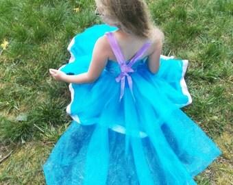 Ariel Tutu Dress: The Little Mermaid Princess Dress, lavender & ocean blue, birthday party, princess dinner, Trip, adjust, halloween costume