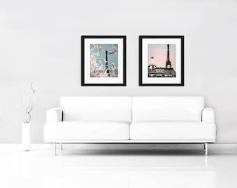 SALE, Girl Nursery Decor, Blue, Pink, Paris Prints, Eiffel Tower, Springtime, Paris Photography Large Wall Art