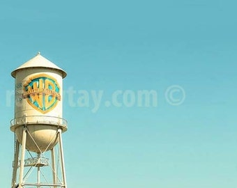Boy Nursery Decor, Warner Brothers Water Tower, Hollywood Studios, WB, Blue, Yellow, Kids Room Art