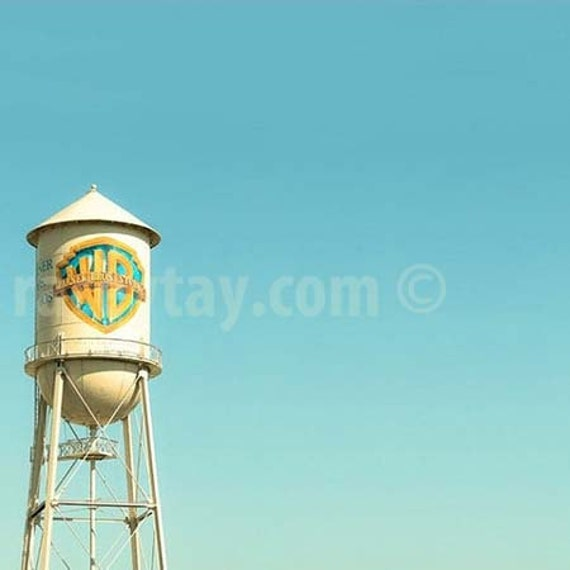 Boy Nursery Decor, Warner Brothers Water Tower, Hollywood Studios, WB, Blue, Yellow, Kids Room Art