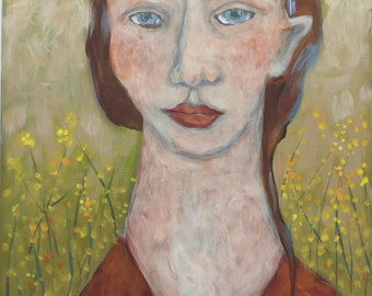 Folk art painting portrait woman in forsythia figurative expressionist original on pine board