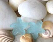 Cultured Seaglass Starfish Beads - Jewelry Making Beads - Starfish Pendant - 20x7mm (2 beads) Top Drilled - Seafoam