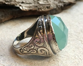 Statement ring, Jade ring, Round silver Ring, sterling silver ring, large stone ring, oxidized silver ring - A dream on our way  R2197-2