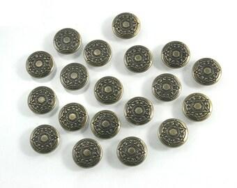 100 sets. Antique Brass Vintage Star Buttons Metal Rapid Rivet Stud Decor Fashion Accessories Diy Crafts Sizes 12 mm. STR RV BR 12 081