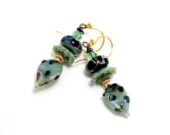 Sage Green Glass Bead Earrings. Artisan Dangle Earrings. Moss Green Lampwork Earrings. Lampwork Bead Jewelry.