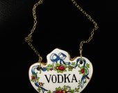Vintage Vodka Decanter Tag, Crown Staffordshire China
