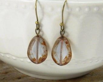 Translucent Glass Teardrop Earrings, Red Brown Earrings, Czech Glass Earrings, Teardrop Dangle earrings,  Drop Earrings