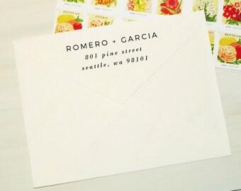 Return Address Stamp - Style #21, Wood Mounted or Self-Inking Address Stamp, Wedding Invitation Stamp, Personalized Stamp, Custom Stamp