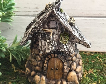 Fairy Garden House Rustic Stone Wood Look Style 2 Perfect for Fairies, Gnome, Miniature Gardening, Terrariums