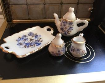 Miniature Blue Onion Tea Set by Reutter, Dollhouse Miniatures, 1:12 Scale, Dollhouse Accessories, Porcelain Tea Set, Miniature Dishes