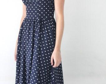 Polka dot midi dress / Dark blue Sleeveless dress