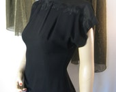 Vintage 1940s Syd Juniors Black Crepe Fitted Evening Top with Silky Appliques, Fabric Covered Back Buttons, Small