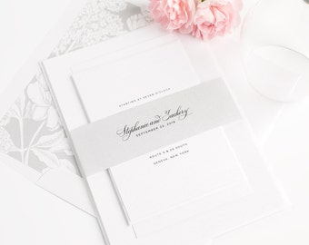 Silver Wedding Invitation - Gray - Hydrangea - Floral - Garden - Classic - Elegant - Delicate Elegance Wedding Invitation - Sample Set
