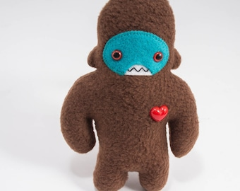 Travel adventure friend! Mini sasquatch plush companion... Custom bigfoot brown & teal.
